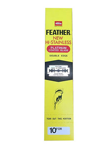 FEATHER HI-STAINLESS DOUBLE EDGE BLADES (200) - Ozbarber