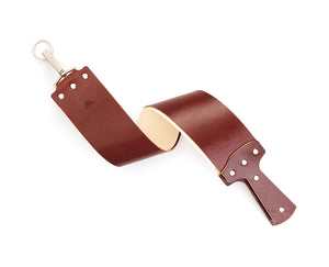 EZRA ARTHUR ENGLISH BRIDLE RAZOR STROP-BURGUNDY - Ozbarber