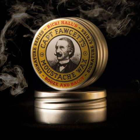 CAPTAIN FAWCETT'S MOUSTACHE WAX: BOOZE & BACCY, 15ML - ozbarber
