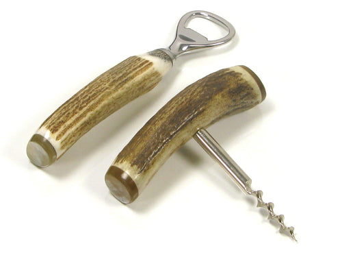 Abbeyhorn Corkscrew & Bottle Opener Two Piece Stag Antler Bar Set