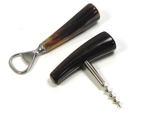 Abbeyhorn Corkscrew & Bottle Opener Cow Horn Bar Set