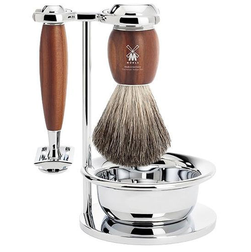 MUHLE VIVO SAFETY RAZOR & PURE BADGER 4-PIECE SET PLUM WOOD - ozbarber