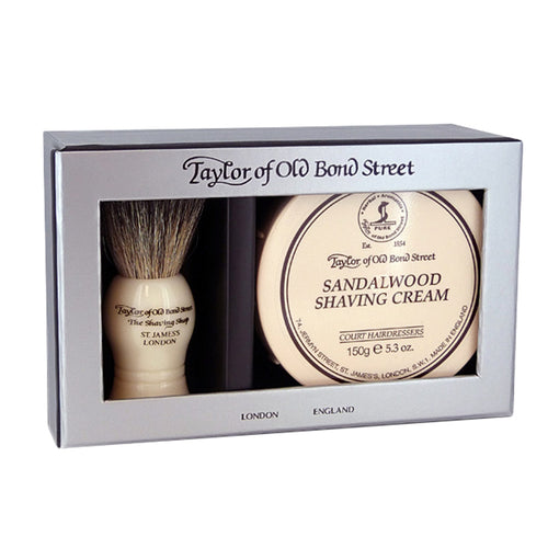 TAYLOR OF OLD BOND STREET PURE BADGER & SANDALWOOD SHAVE CREAM GIFT BOX - ozbarber