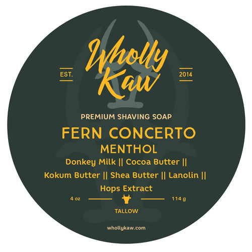 Wholly Kaw Fern Concerto - Mentholated Shaving Soap Tallow