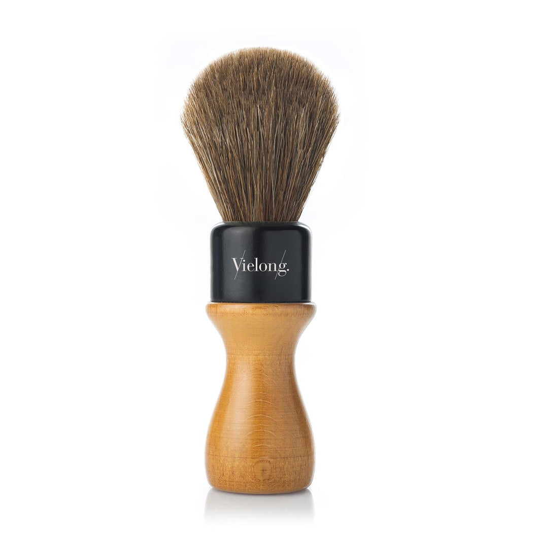 VieLong American Style Brown Horse Hair Shaving Brush Wood Handle D24