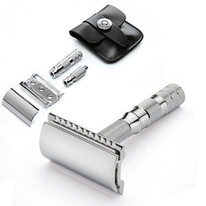 MERKUR SOLINGEN TRAVEL RAZOR WITH LEATHER CASE - Ozbarber