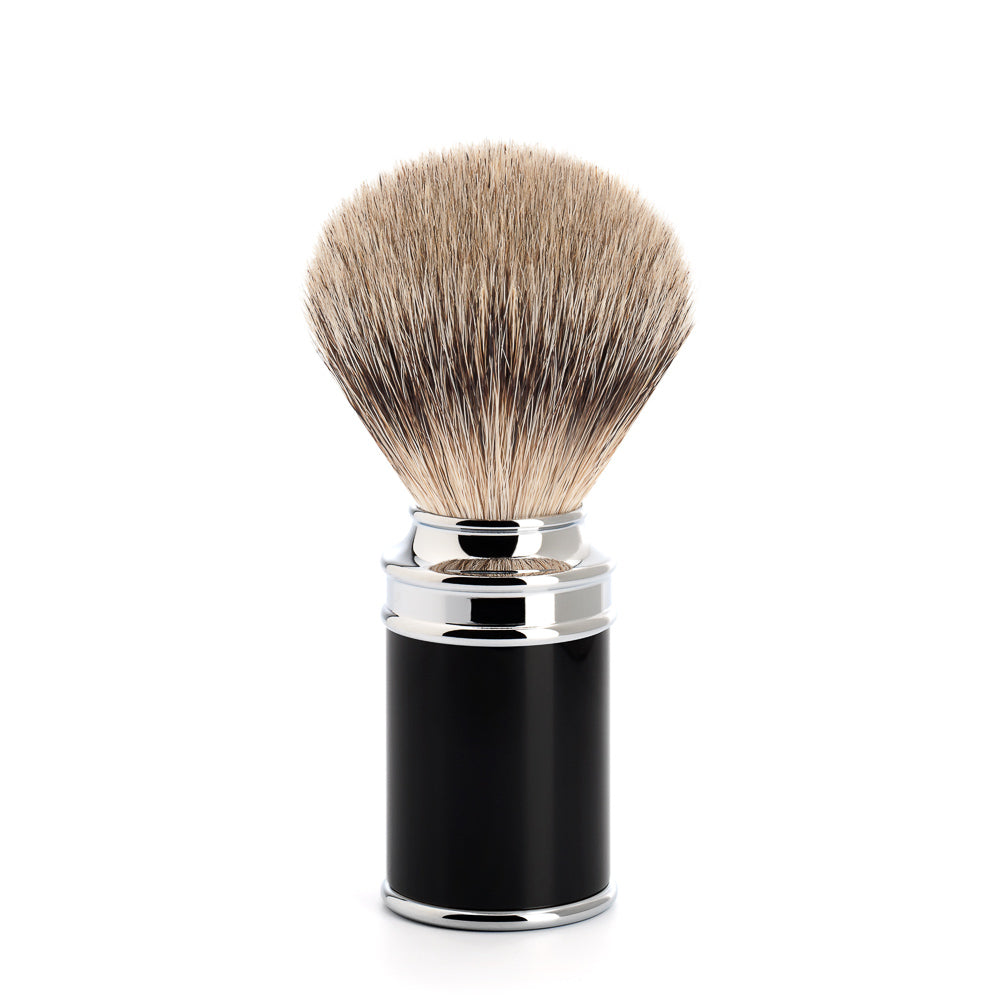 MUHLE M106 TRADITIONAL SILVERTIP BADGER HAIR SHAVING BRUSH WITH BLACK HANDLE - Ozbarber