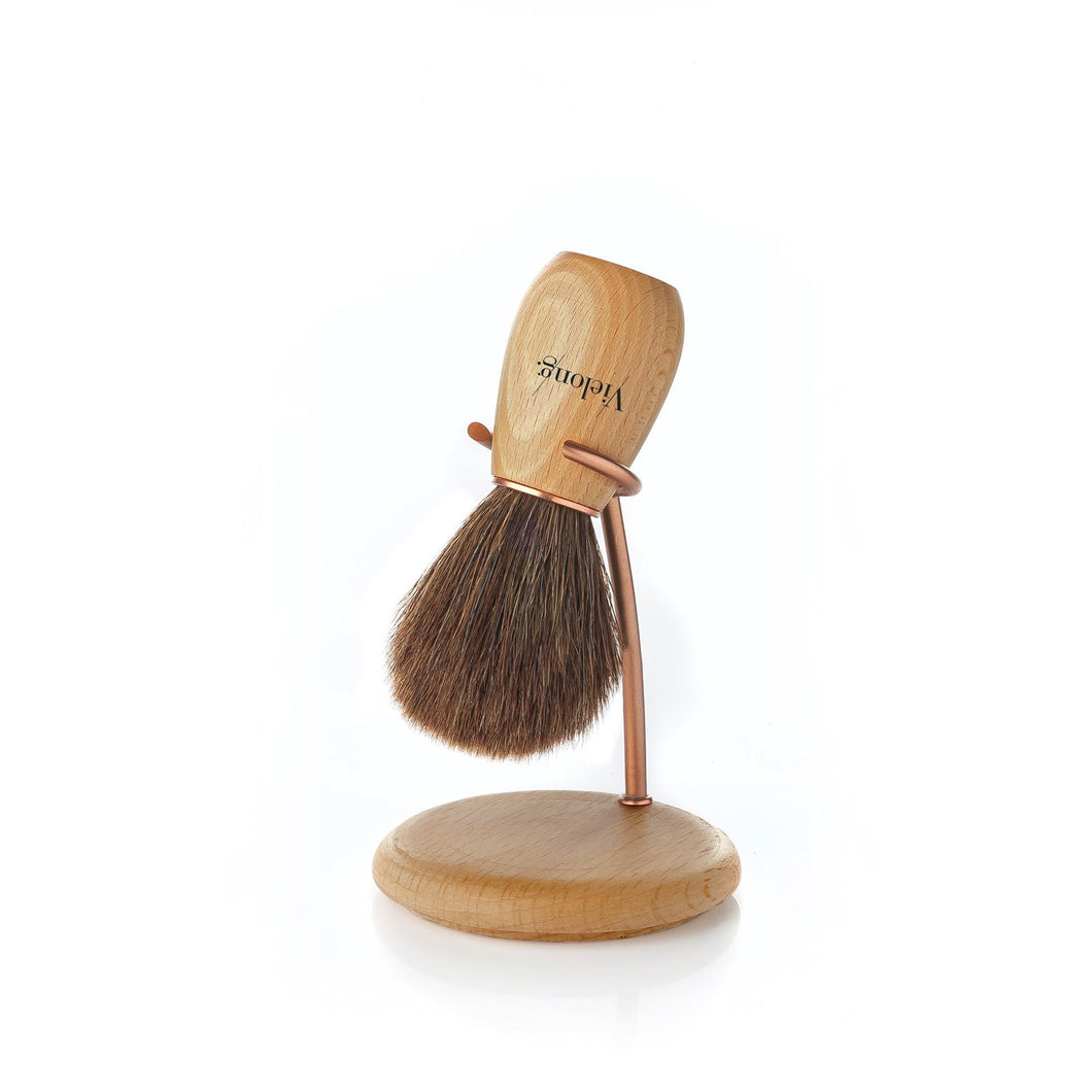Vielong Wave Set Brown Horse Hair Shaving Brush with Stand