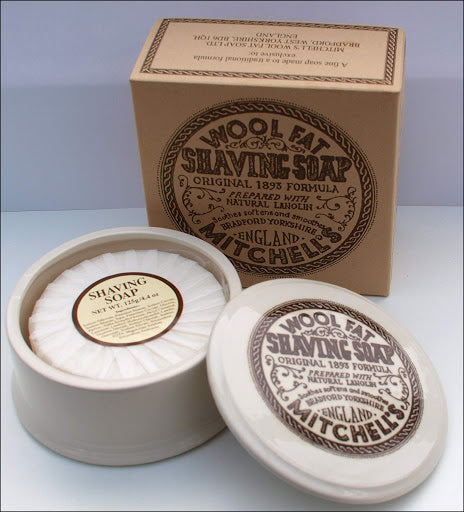 Mitchell's Wool Fat Shaving Soap with Dish