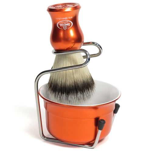OMEGA HI-BRUSH FIBER SHAVING BRUSH WITH BOWL AND STAND VB065.18 - Ozbarber