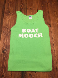 Our Boat Mooch tank is lime green Gildan Ultra Cotton that pops with a little white text.