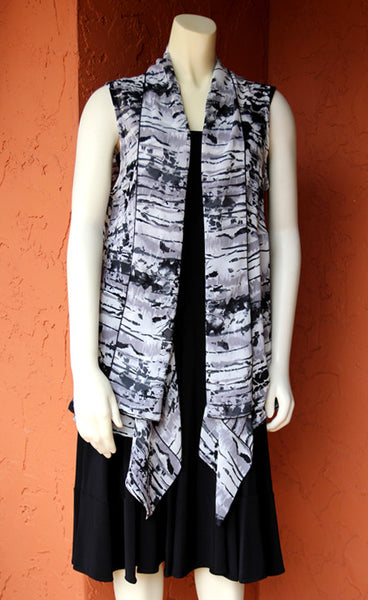 Chiffon Vest: Black and White