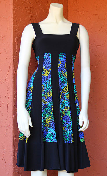 Sleeveless Coach Dress: Blue-Green Stained Glass