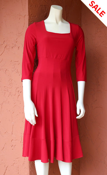3/4 Sleeve Coach Dress: Red