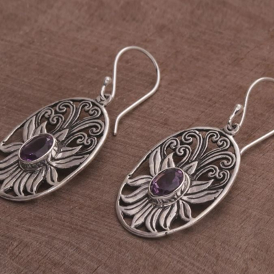 "Balinese Amethyst and Sterling Silver Lotus Dangle Earrings, ""Daylight Lotus"" - BumBoo Bamboo"