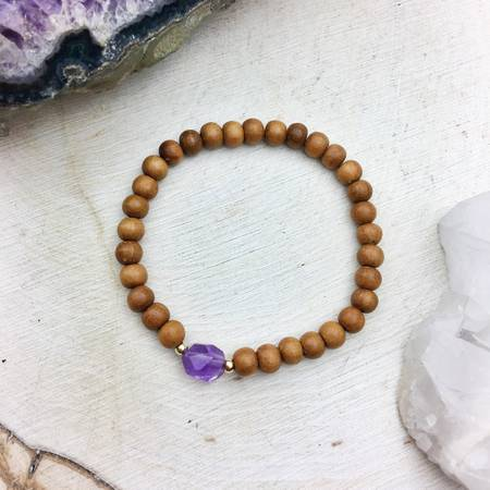 Authentic Sandalwood 6mm With Faceted Amethyst Gemstone
