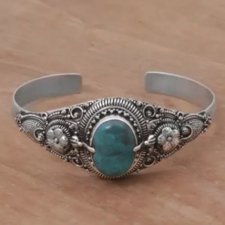 "Natural Turquoise on 925 Sterling Silver Cuff Bracelet, ""Balinese Magic"" - BumBoo Bamboo"