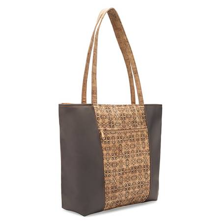 Be Basic 2 Large Tote Bag | Printed Cork (Mammoth Tile Print) - BumBoo Bamboo