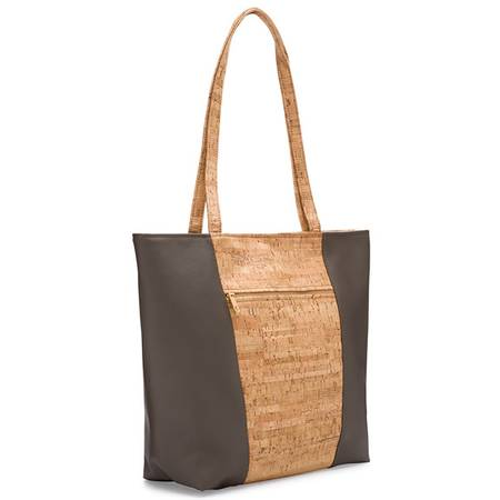 Be Basic 2 Large Tote Bag | Rustic Cork + Faux Leather - BumBoo Bamboo