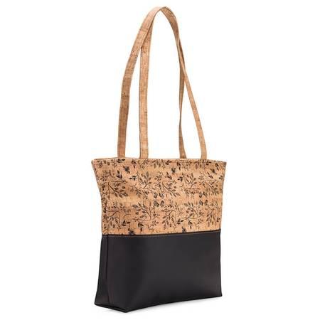 Be Basic Tote Bag | Zipper Closure | Printed Cork (Black Floral Print) - BumBoo Bamboo