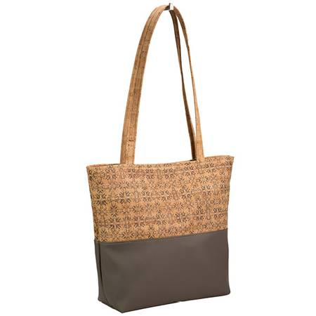 Be Basic Tote Bag | Zipper Closure | Printed Cork (Mammoth Tile Print) - BumBoo Bamboo