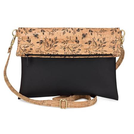 Be Flexible Fold Over Cross Body Bag | Printed Cork (Black Floral Print) - BumBoo Bamboo