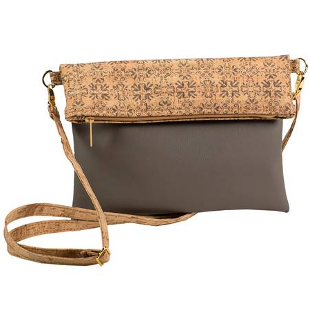 Be Flexible Fold Over Cross Body Bag | Printed Cork (Mammoth Tile Print) - BumBoo Bamboo