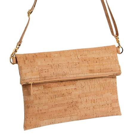 Be Flexible Fold Over Cross Body Bag | Rustic Cork (All Cork) 2 - BumBoo Bamboo
