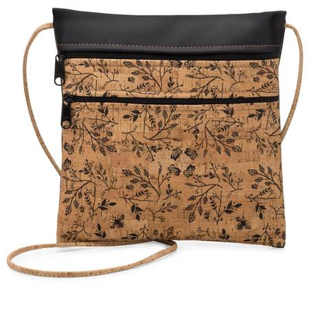 Be Lively 2 Double Zip Cross Body Bag | Printed Cork (Black Floral Print) - BumBoo Bamboo