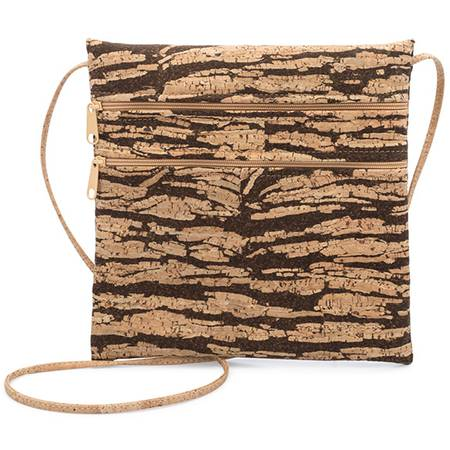 Be Lively 2 Double Zipper Cross Body Bag (Bark Cork) - BumBoo Bamboo