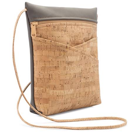 Be Lively 3 Criss-Cross Pocket Body Bag | Cork+Faux Leather - BumBoo Bamboo