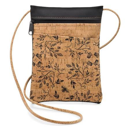 BE LIVELY MINI CROSS BODY BAG | PRINTED CORK (BLACK FLORAL PRINT) - BumBoo Bamboo