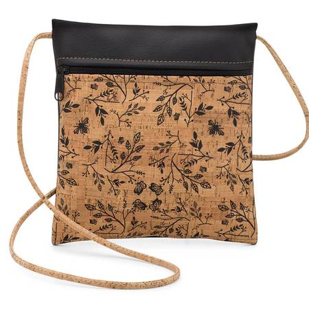 Be Lively Small Cross Body Bag | Printed Cork + Faux Leather (Black Floral Print) - BumBoo Bamboo