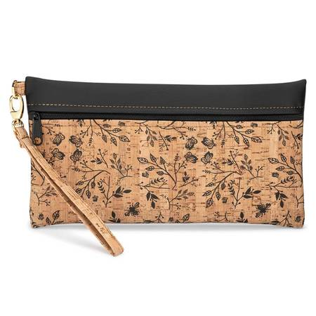 Be Ready Large Wristlet | Printed Cork + Faux Leather (Black Floral Print Front) - BumBoo Bamboo
