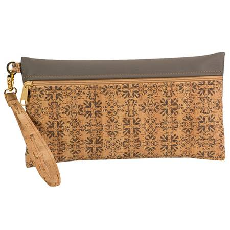 Be Ready Large Wristlet | Printed Cork + Faux Leather (Mammoth Tile Print Front) - BumBoo Bamboo