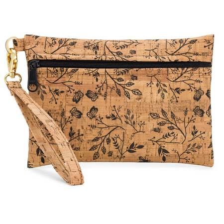 Be Ready Small Wristlet | All Printed Cork (All Black Floral Print) - BumBoo Bamboo