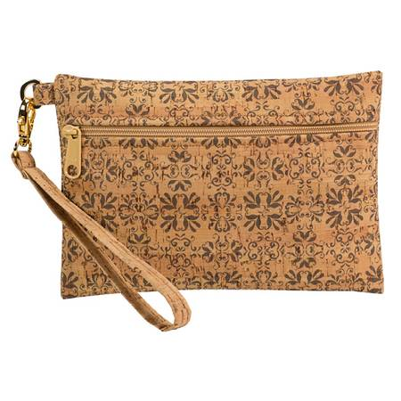 Be Ready Small Wristlet | All Printed Cork (All Mammoth Tile Print) - BumBoo Bamboo