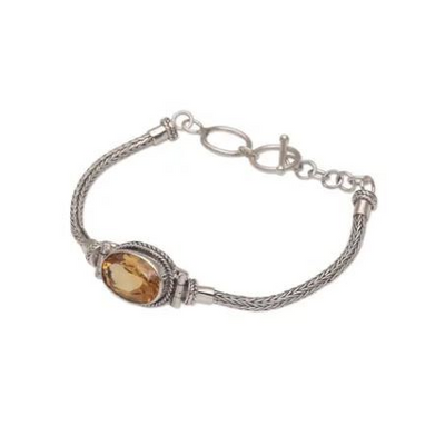 "Sterling Silver Citrine Pendant Bracelet, ""Center Stage in Yellow"" - BumBoo Bamboo"