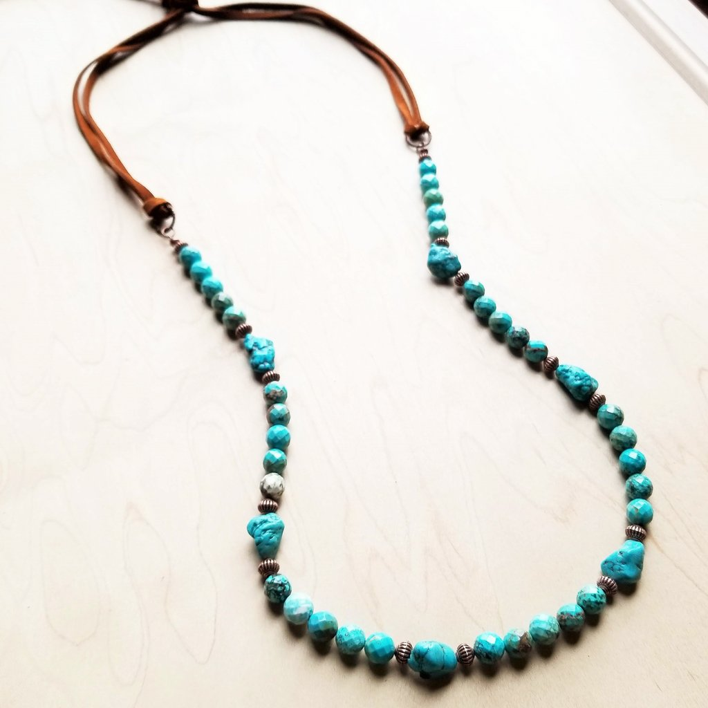 Faceted Natural Blue Turquoise Necklace w/ Leather Ties - Turquoise - BumBoo Bamboo