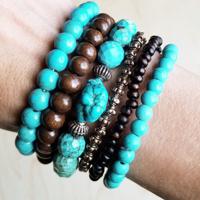 Faceted Natural Blue Turquoise Stretch Bracelet - BumBoo Bamboo