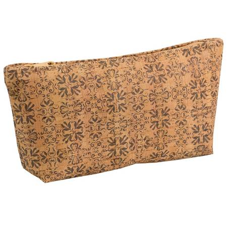 Large Zip Pouch | Printed Cork (Mammoth Tile Print) - BumBoo Bamboo