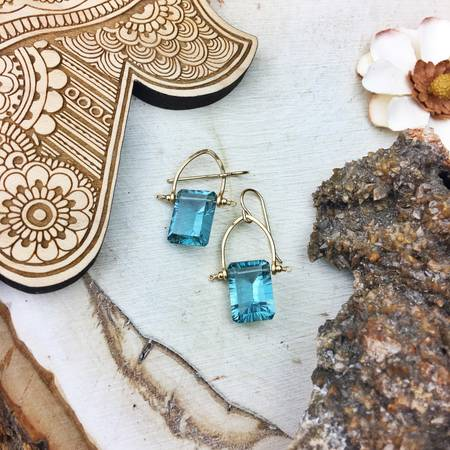 Quartz Light Teal Rectangle 14k Gold Filled