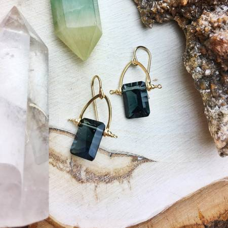 Quartz Dark Teal Rectangle 14k Gold Filled - BumBoo Bamboo