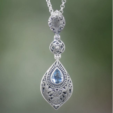 "Floral Blue Topaz Pendant Necklace from Bali, ""Tari Lotus"" - BumBoo Bamboo"
