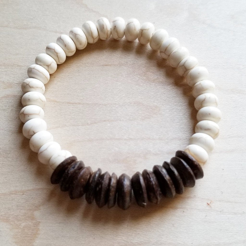 White Turquoise Howlite with Wood Accent Beads - BumBoo Bamboo