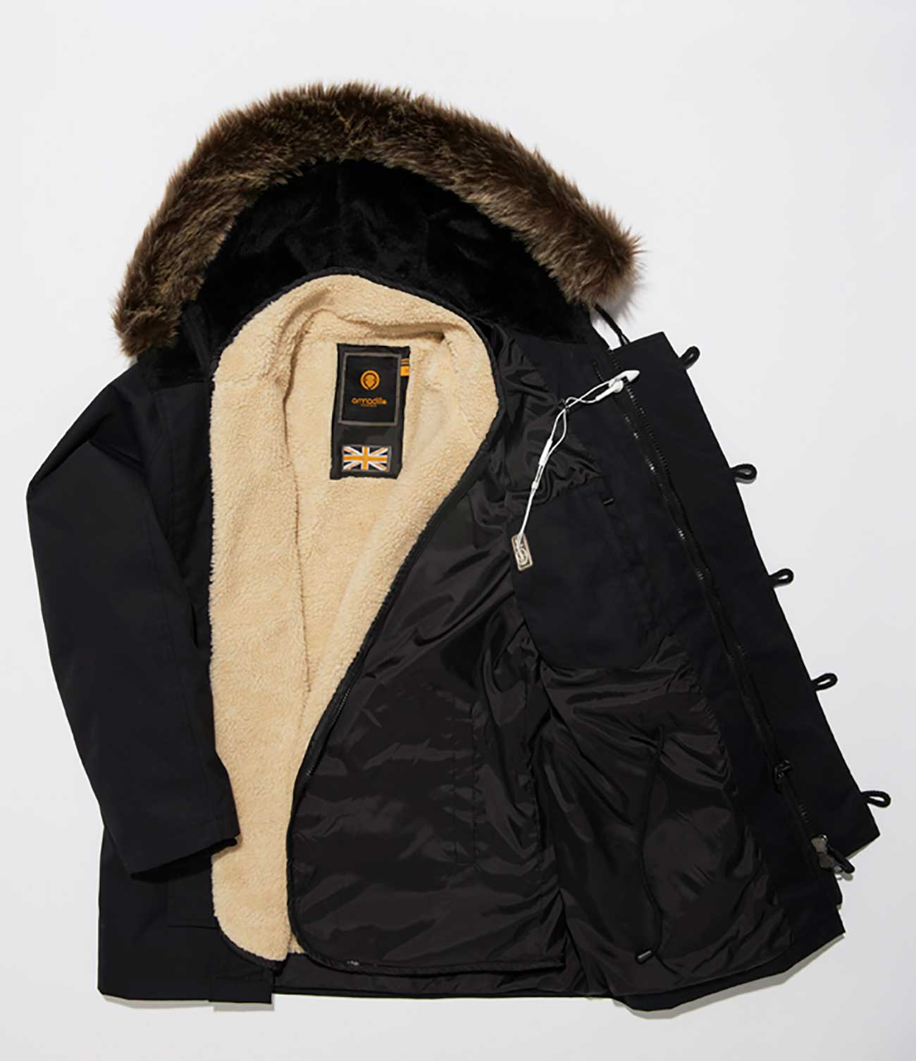 Jimmy Fur Parka Jacket - Black