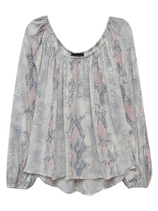 Fifteen Twenty Snake Print Peasant Top