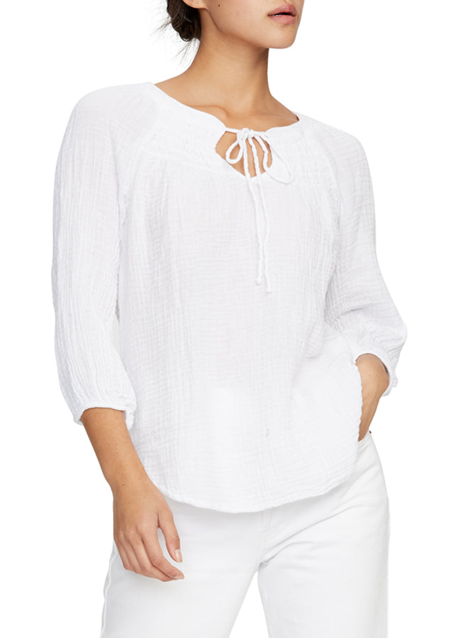 Micheal Stars Peasant Gauze Elbow  Sleeve Top