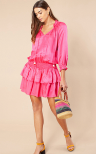 Hale Bob Bracelet Sleeve Smocked Waist Dress