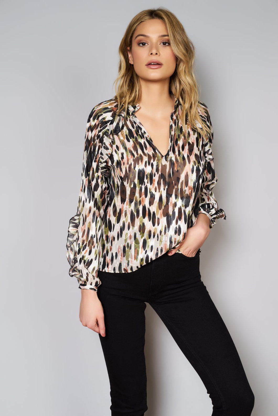 Hutch L/S V-Neck Watercolor Leopard Blouse